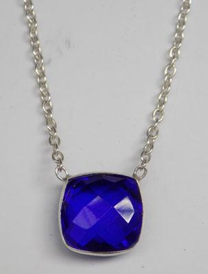"925 Silver blue sapphire necklace 18"" chain"