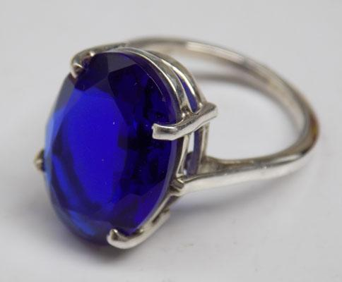 925 Silver sapphire ring size M 1/2