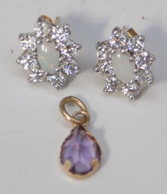 Pair of 9ct gold, opal earrings and 9ct gold amethyst pendant