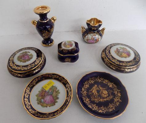 Collection of blue Limoges