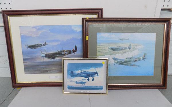 3x Pictures of Spitfire & Hurricane