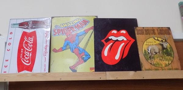 Collection of signs-Spiderman, Buck lodge, Rolling Stones & Coca Cola