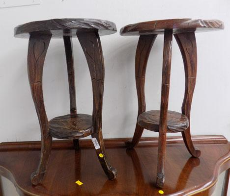 Pair of carved tables