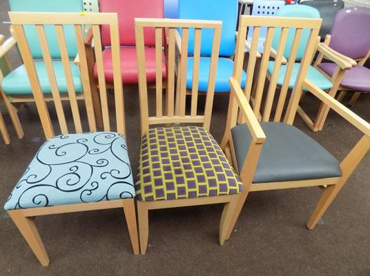 3x Wooden back chairs