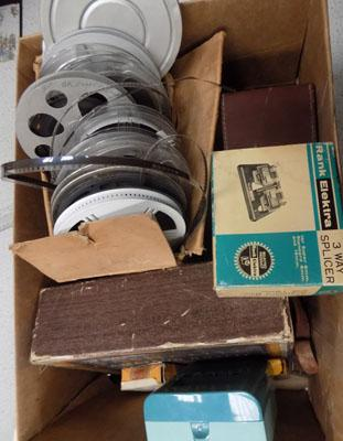 Box of vintage photography items inc film & reels