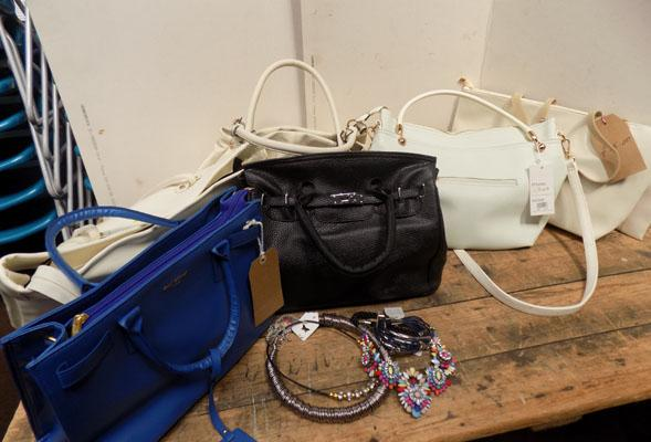 Selection of new handbags and costume jewellery