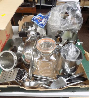 2x Boxes of stainless steel items