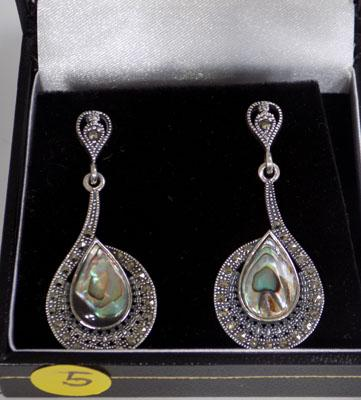 Pair of silver paua shell and marcasite earrings