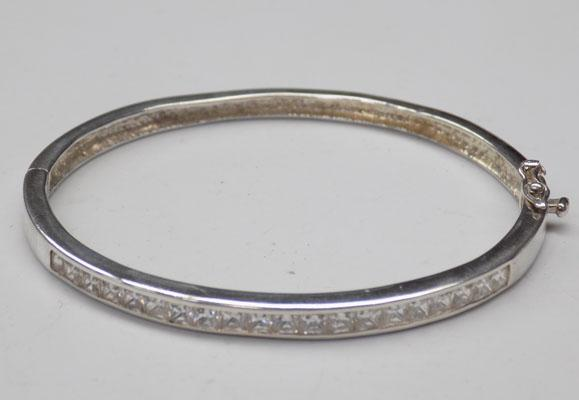 Solid silver bangle with white stones-unusual clasp