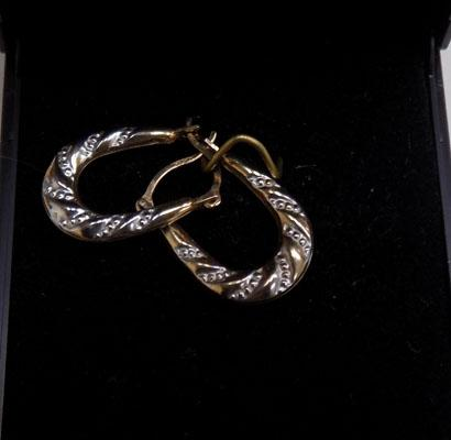 Pair 9ct yellow/white gold Creole ear rings