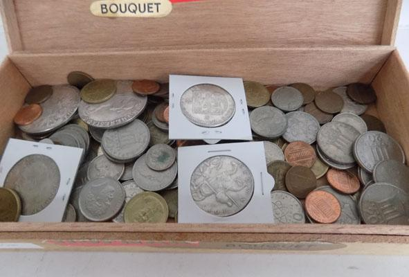Cigar box of assorted coins