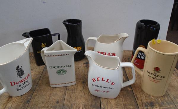 Selection of alcohol ceramic jugs