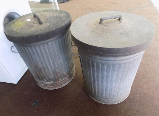 2 Metal dustbins with lids