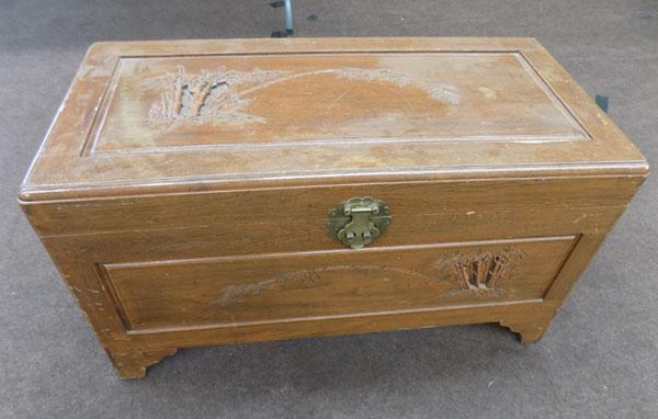 Oriental style carved trunk/blanket box