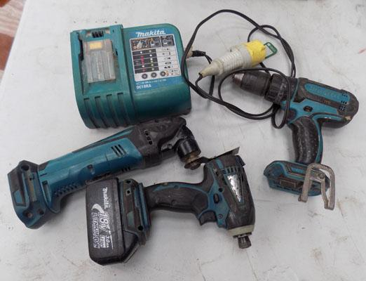 Selection of Makita tools with battery & charger