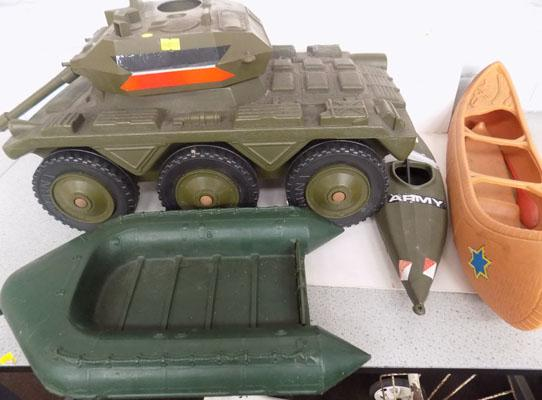 Large Action Man tabk & other transport items