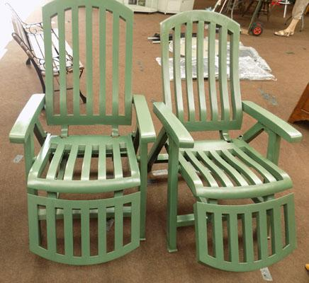 Pair of fully reclining garden chairs