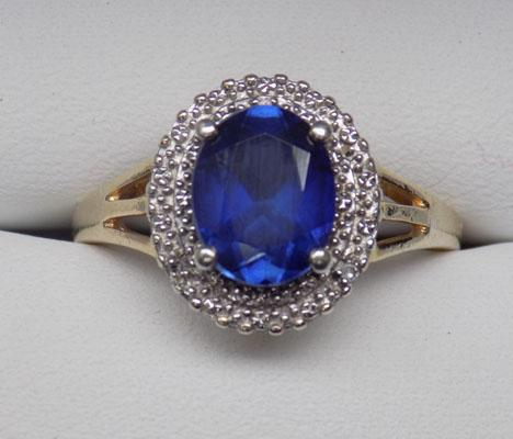 Gold on silver Blue Sapphire & Diamond Diana ring