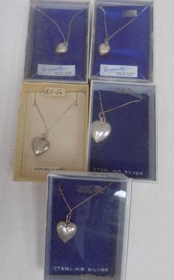 5x Sterling silver heart pendants on chains