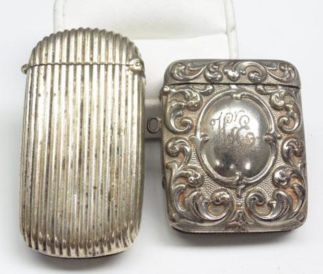 2x White metal Vesta cases