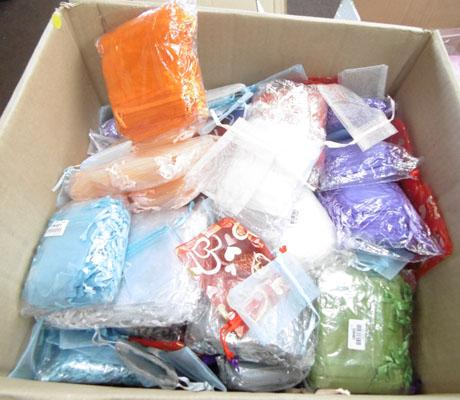 Box of various organza bags