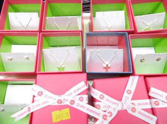 D4 diamond, kids jewellery - 6 pendants, 3 earrings - sterling silver