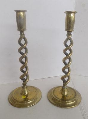 Pair of brass Edwardian candle sticks