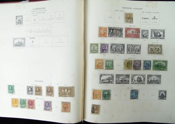 Old ideal album containing British Empire stamps 1915-1930