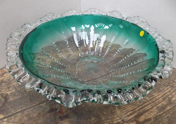 Ornate coloured glass bowl
