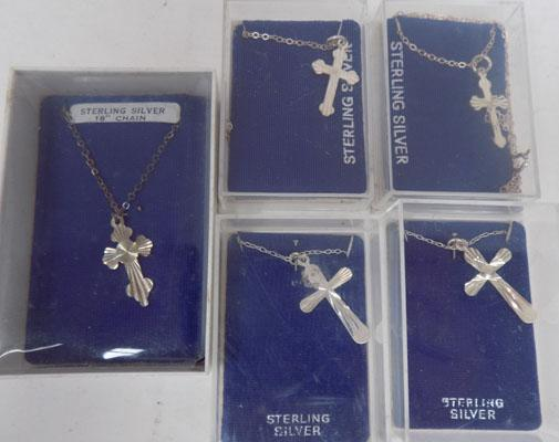 5x Sterling silver cross & chain necklaces