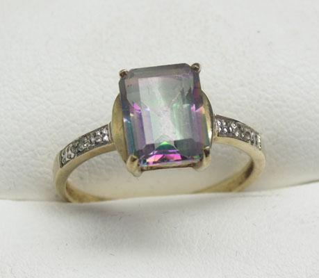 9ct Gold Mystic Topaz & Diamond ring size O