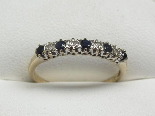 9ct Gold Diamond & Sapphire half eternity ring size O1/2