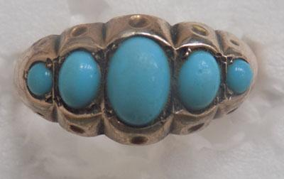 Vintage 9ct gold Turquoise ring