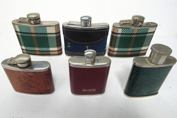 6x Whisky hip flasks