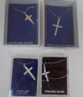 4x Sterling silver cross pendants & chain
