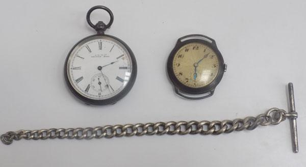2x Silver watches & silver watch chain