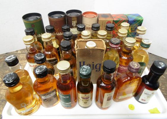 Tray of whisky miniatures-some vintage