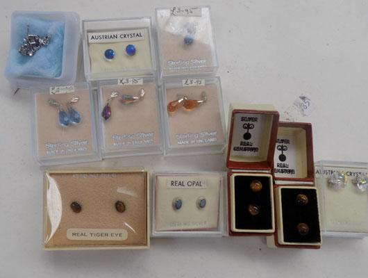 11x Pairs of sterling silver gemstone ear rings