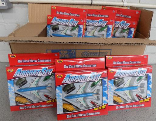 Box of die cast Airport sets