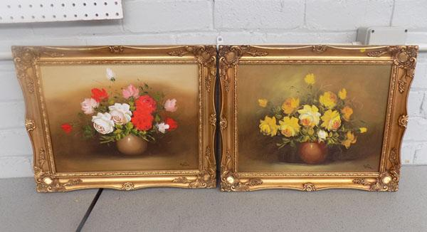 2x Floral oil on canvas signed Tina