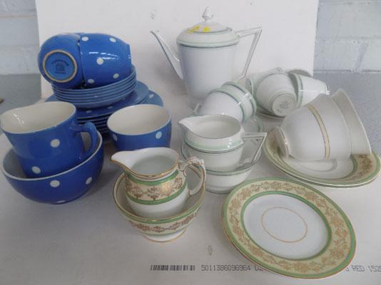 TG Green white polker dot tea set & Bell china coffee set