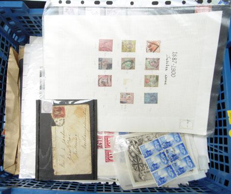 Plastic tray containing Queen Victoria stamps full sheets etc.