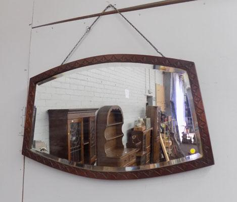 Carved framed bevel edge mirror