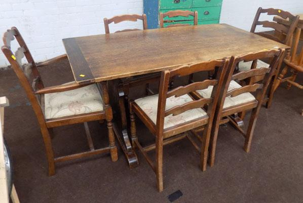 Victorian table & 6 ladder back chairs