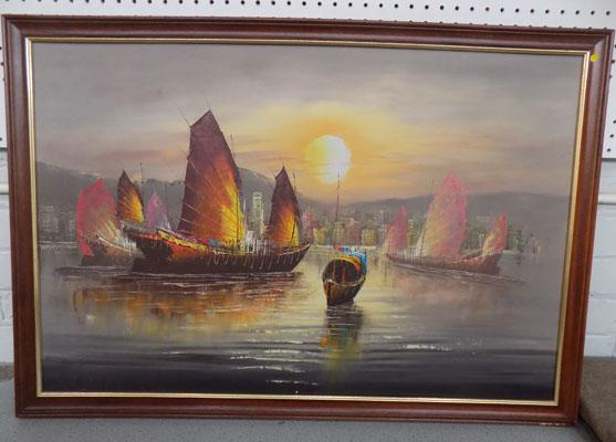 Oil painting on canvas of Hong Kong harbour