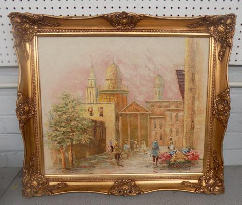 Oil on canvas in decorative frame by M Church