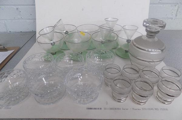Collection of Sundae glasses & decanter & glasses