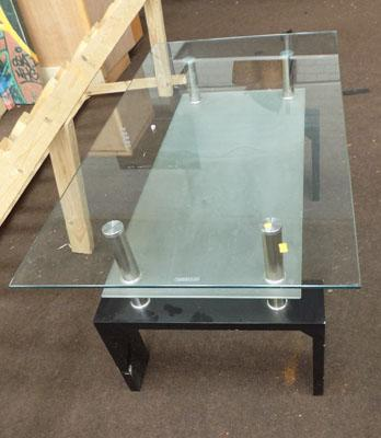 Large glass/black/chrome coffee table