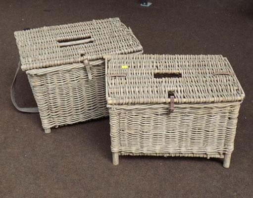 Pair of vintage fishing baskets