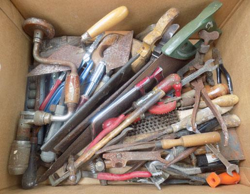 Assorted hand tools, saws, drills etc.